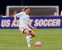 St Louis Athletica defender Sara Larsson (4) makes a pass during a WPS match at Anheuser-Busch Soccer Park, in St. Louis, MO, June 7, 2009. Athletica won the match 1-0.