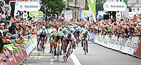 Picture by Alex Whitehead/SWpix.com - 22/09/2013 - Cycling - Tour of Britain, Stage 8 - The London Stage - Omega Pharma-Quick Step's Mark Cavendish wins stage 8 in a sprint finish.