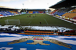 St Johnstone v St Mirren…16.01.21   McDiarmid Park     SPFL<br />Snow on the edges of the pitch as the players warm up<br />Picture by Graeme Hart.<br />Copyright Perthshire Picture Agency<br />Tel: 01738 623350  Mobile: 07990 594431
