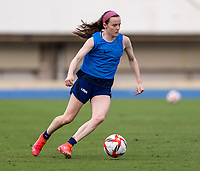 TOKYO, JAPAN - JULY 20: Rose Lavelle #16 of the USWNT dribbles during a training session at the practice fields on July 20, 2021 in Tokyo, Japan.