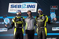 #7 VOLT Racing with Archangel Ligier JS P320, P3-1: Trent Hindman, Alan Brynjolfsson, Mike Johnson<br /> Winners, Victory Lane