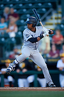 Tampa Tarpons left fielder Isiah Gilliam (24) at bat during a game against the Bradenton Marauders on April 25, 2018 at LECOM Park in Bradenton, Florida.  Tampa defeated Bradenton 7-3.  (Mike Janes/Four Seam Images)