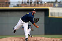 Pitcher Joseph Zanghi (39) of the Columbia Fireflies delivers a pitch in a game against the Rome Braves on Sunday, July 2, 2017, at Spirit Communications Park in Columbia, South Carolina. Columbia won, 3-2. (Tom Priddy/Four Seam Images)
