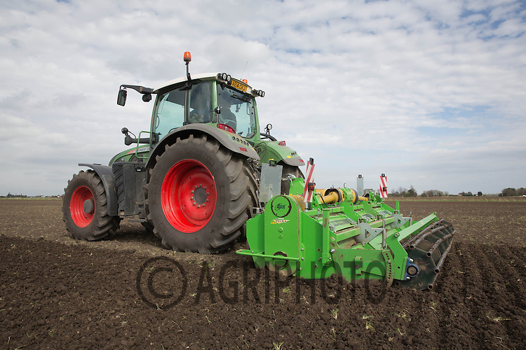 Power harrowing before Planting potatoes in the Cambridgeshire Fens<br /> Picture Tim Scrivener 07850 303986
