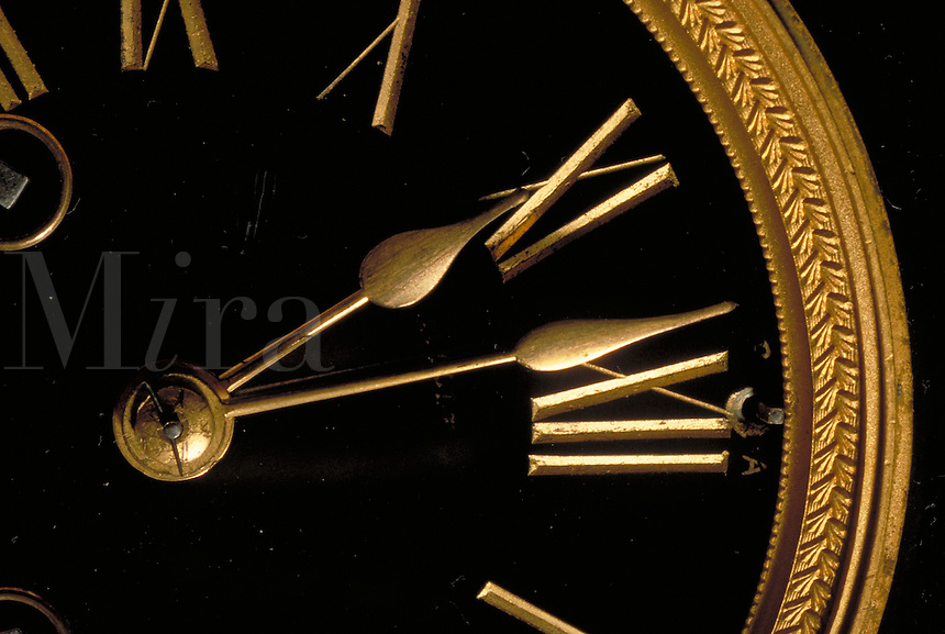 Detail, hands, roman numerals, Antique Clock Face, old-fashioned timepiece, still life, time.