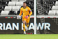 SWANSEA, WALES - NOVEMBER 12: Zack Steffen #1 of the United States with the ball during a game between Wales and USMNT at Liberty Stadium on November 12, 2020 in Swansea, Wales.