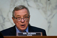 WASHINGTON, DC - FEBRUARY 22: United States Senator Dick Durbin (Democrat of Illinois), Chairman, US Senate Committee on the Judiciary, speaks during his opening statement during Attorney General nominee Merrick Garland's confirmation hearing before the Senate Judiciary Committee in the Hart Senate Office Building on February 22, 2021 in Washington, DC. Garland previously served at the Chief Judge for the U.S. Court of Appeals for the District of Columbia Circuit. <br /> Credit: Drew Angerer / Pool via CNP /MediaPunch