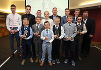 Pictured: All the award winners with club chairman Huw Jenkins (TOP ROW 5TH LEFT) and Nigel Rees (YOP ROW 3RD LEFT) Saturday 27 May 2017<br /> Re: Swansea City FC Academy Awards Evening at the Liberty Stadium, Wales, UK