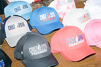 Laurie McBride, of Sarasota, Flor., sells Cruz buttons, hats, books, shirts, and other merchandise by My Campaign Wear before Texas senator and Republican presidential candidate Ted Cruz speaks at a town hall at Crossing Life Church in Windham, New Hampshire, on Tues. Feb. 2, 2016. The day before, Cruz won the Iowa caucus.
