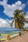 Vieques Island, Puerto Rico<br /> Morning sun on the promonade along the Esperanza harbor