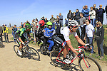 Riders, including Hayden Roulston (NZL) Trek Factory Racing and Antoine Duchesne (CAN) Team Europcar, tackle Sector 25 Quievy to Saint-Python during the 113th edition of the Paris-Roubaix 2015 cycle race held over the cobbled roads of Northern France. 12th April 2015.<br /> Photo: Eoin Clarke www.newsfile.ie