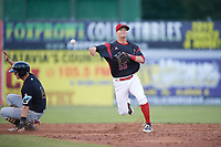 Batavia Muckdogs shortstop Micah Brown (55) turns a double play as Jared Oliva (43) slides into second base in the top of the sixth inning during a game against the West Virginia Black Bears on June 26, 2017 at Dwyer Stadium in Batavia, New York.  Batavia defeated West Virginia 1-0 in ten innings.  (Mike Janes/Four Seam Images)