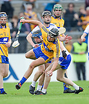 Dylan Mc Mahon of Clare  in action against Oisin O Ceallaigh of Waterford during their Munster  championship round robin game at Cusack Park Photograph by John Kelly.