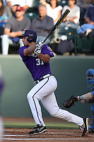 Jerrick Suiter #31 of the TCU Horned Frogs bats against the UCLA Bruins at the Los Angeles super regionals at Jackie Robinson Stadium on June 9, 2012 in Los Angeles,California. UCLA defeated TCU 4-1.(Larry Goren/Four Seam Images)