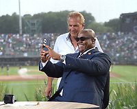 DYERSVILLE, IOWA - AUGUST 12: Fox MLB Pregame broadcaster Frank Thomas with guest Kevin Costner at the Fox broadcast of the MLB Field of Dreams game on August 12, 2021 in Dyersville, Iowa. (Photo by Frank Micelotta/Fox Sports/PictureGroup)