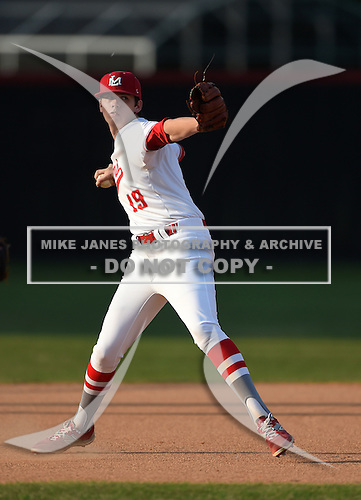 Lake Mary Rams third baseman Brett Brubaker (19) during practice before a game against the Lake Brantley Patriots on April 2, 2015 at Allen Tuttle Field in Lake Mary, Florida.  Lake Brantley defeated Lake Mary 10-5.  (Mike Janes Photography)