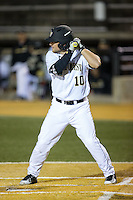 Nate Mondou (10) of the Wake Forest Demon Deacons at bat against the Georgetown Hoyas at David F. Couch Ballpark on February 19, 2016 in Winston-Salem, North Carolina.  The Demon Deacons defeated the Hoyas 3-1.  (Brian Westerholt/Four Seam Images)