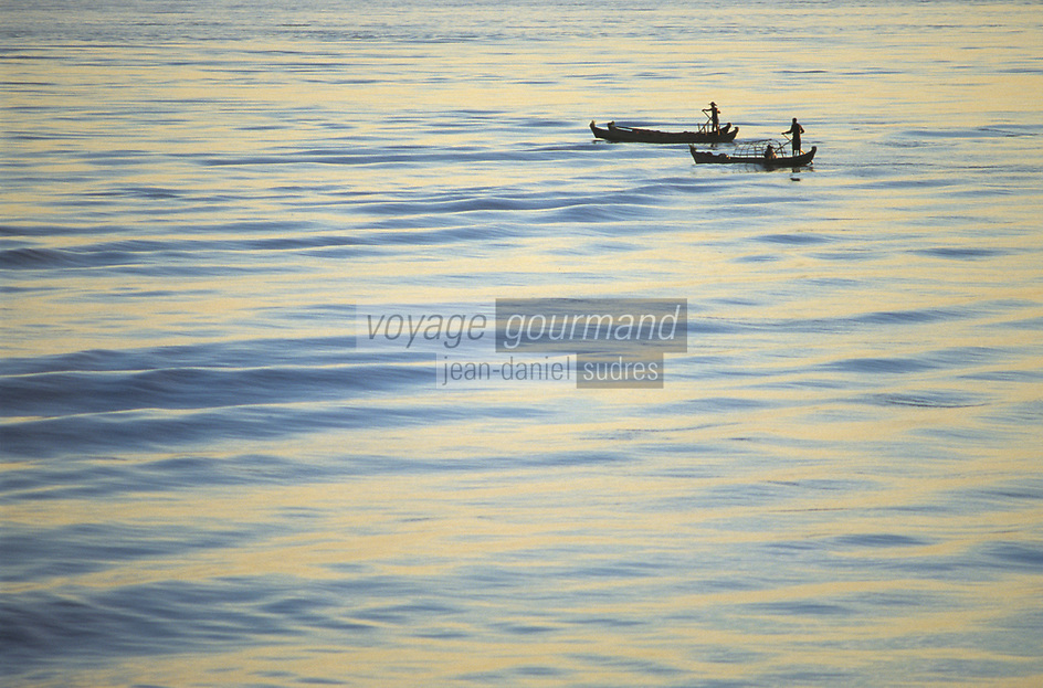 Asie/Birmanie/Myanmar/Haute Birmanie/Mandalay: Navigation sur l'Irrawaddy - Barques de pêcheurs