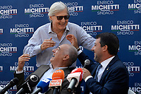 The candidate mayor of Rome for the right-center coalition Enrico Michetti, the leader of Lega right party Matteo Salvini and the candidate councilor for culture Vittorio Sgarbi joke  during an electoral campaign press conference for the mayoral election in Spinaceto, a peripheral neighborhood in the west of Rome on October 1st 2021. Photo Andrea Staccioli Insidefoto