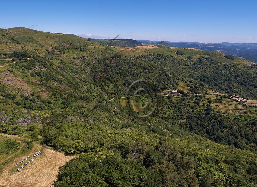 Aerial view of an apiary in the hills of the Ardéche during the blossoming of the chestnut trees.<br /> Vue aérienne d'un rucher dans les collines ardéchoise pendant la floraison des châtaigniers.