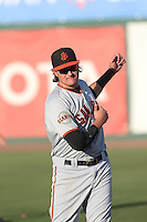 Ryder Jones (9) of the San Jose Giants before a game against the Inland Empire 66ers at San Manuel Stadium on May 30, 2015 in San Bernardino, California. Inland Empire defeated San Jose, 6-4. (Larry Goren/Four Seam Images)