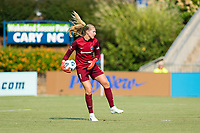 CARY, NC - SEPTEMBER 12: Casey Murphy #1 of the NC Courage looks to distribute the ball during a game between Portland Thorns FC and North Carolina Courage at WakeMed Soccer Park on September 12, 2021 in Cary, North Carolina.
