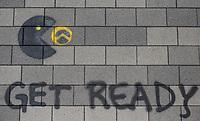 """Am Samstag den 20 Juli 2019 versuchten in Halle an der Saale ca. 200 Mitglieder und Anhaenger der rechtsextremen """"Identitaeren Bewegung"""", IB, eine Demonstration durchzufuehren. Sie versammelten sich dafuer vor dem Haus der IB in der Adam-Kuckhoff-Straße 16. Aufgrund von Gegenprotesten konnten die Rechtsextremen jedoch nicht marschieren, da alle Straßen um ihr Haus von Gegendemonstranten blockiert wurden.<br /> Im Bild: Ein Graffiti gegen die IB.<br /> 20.7.2019, Berlin<br /> Copyright: Christian-Ditsch.de<br /> [Inhaltsveraendernde Manipulation des Fotos nur nach ausdruecklicher Genehmigung des Fotografen. Vereinbarungen ueber Abtretung von Persoenlichkeitsrechten/Model Release der abgebildeten Person/Personen liegen nicht vor. NO MODEL RELEASE! Nur fuer Redaktionelle Zwecke. Don't publish without copyright Christian-Ditsch.de, Veroeffentlichung nur mit Fotografennennung, sowie gegen Honorar, MwSt. und Beleg. Konto: I N G - D i B a, IBAN DE58500105175400192269, BIC INGDDEFFXXX, Kontakt: post@christian-ditsch.de<br /> Bei der Bearbeitung der Dateiinformationen darf die Urheberkennzeichnung in den EXIF- und  IPTC-Daten nicht entfernt werden, diese sind in digitalen Medien nach §95c UrhG rechtlich geschuetzt. Der Urhebervermerk wird gemaess §13 UrhG verlangt.]"""