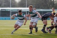 Matt Cornish of Ealing Trailfinders breaks for the try line during the Greene King IPA Championship match between Ealing Trailfinders and Nottingham Rugby at Castle Bar , West Ealing , England  on 30 March 2019. Photo by Carlton Myrie.