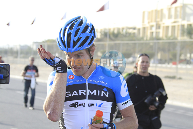 Tyler Farrar (USA) Garmin-Cervelo after crossing the finish line of  Stage 1 of the Tour of Qatar 2012 running 142.5km from Barzan Towers to Doha Golf Club, Doha, Qatar. 5th February 2012.<br /> (Photo by Eoin Clarke/NEWSFILE).