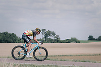 belgian champion Oliver Naesen (BEL/AG2R-LaMondiale) coming back after a mechanical<br /> <br /> 104th Tour de France 2017<br /> Stage 7 - Troyes › Nuits-Saint-Georges (214km)