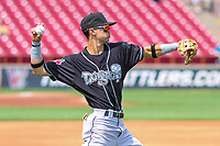 Lansing Lugnuts second baseman Kevin Vicuna (3) warms up in the outfield prior to a Midwest League game against the Wisconsin Timber Rattlers on May 8, 2018 at Fox Cities Stadium in Appleton, Wisconsin. Lansing defeated Wisconsin 11-4. (Brad Krause/Four Seam Images)