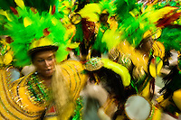 Dancers of Imperatriz samba school perform during the Carnival parade at the Sambadrome in Rio de Janeiro, Brazil, 20 February 2012. The Carnival in Rio de Janeiro, considered the biggest carnival in the world, is a colorful, four day celebration, taking place every year forty days before Easter. The Samba school parades, featuring thousands of dancers, imaginative costumes and elaborate floats, are held on the Sambadrome, a purpose-built stadium in downtown Rio. According to costumes, flow, theme, band music quality and performance, a single school is declared the winner of the competition.