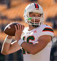 Miami Hurricanes quarterback Evan Shirreffs. The Pitt Panthers upset the undefeated Miami Hurricanes 24-14 on November 24, 2017 at Heinz Field, Pittsburgh, Pennsylvania.