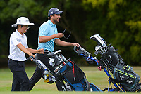Tae Min Kim and Chas Craig. Day one of the Brian Green Property Group NZ Super 6s Manawatu at Manawatu Golf Club in Palmerston North, New Zealand on Thursday, 25 February 2021. Photo: Dave Lintott / lintottphoto.co.nz