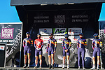 Canyon//SRAM Racing at the team presentations before the start of Liege-Bastogne-Liege Femmes 2021, running 141km from Bastogne to Liege, Belgium. 25th April 2021.  <br /> Picture: A.S.O./Gautier Demouveaux | Cyclefile<br /> <br /> All photos usage must carry mandatory copyright credit (© Cyclefile | A.S.O./Gautier Demouveaux)