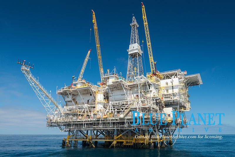 Oil Rig Eureka, 8.5 miles off Long Beach, California, lies in 720' of water.
