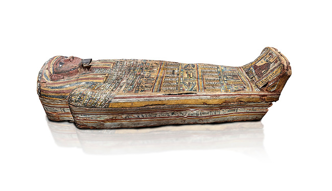Ancient Egyptian wooden sarcophagus - the tomb of Tagiaset, Iuefdi, Harwa circa 7th cent BC - Thebes Necropolis. Egyptian Museum, Turin. white background