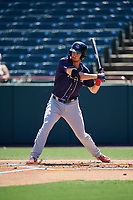 Binghamton Rumble Ponies Patrick Mazeika (19) bats during an Eastern League game against the Bowie Baysox on August 21, 2019 at Prince George's Stadium in Bowie, Maryland.  Bowie defeated Binghamton 7-6 in ten innings.  (Mike Janes/Four Seam Images)