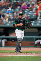 Great Lakes Loons catcher Steve Berman (28) during a game against the Burlington Bees on May 4, 2017 at Dow Diamond in Midland, Michigan.  Great Lakes defeated Burlington 2-1.  (Mike Janes/Four Seam Images)