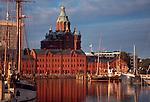 Helsinki, Finland: Uspenskin Kathedraali, Upenski Cathedral, from the North harbor at sunset, Scandinavia, Europe, Baltic Sea,.