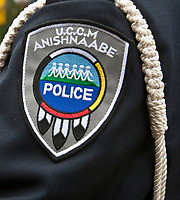 UCCM Anishnaabe Police badge is seen during a police memorial parade in Ottawa Sunday September 26, 2010.