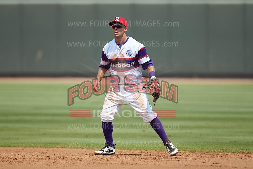 Winston-Salem Rayados second baseman Nick Madrigal (4) on defense against the Potomac Nationals at BB&T Ballpark on August 12, 2018 in Winston-Salem, North Carolina. The Rayados defeated the Nationals 6-3. (Brian Westerholt/Four Seam Images)