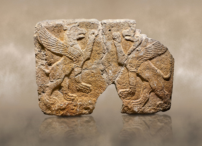 Photo of Hittite monumental relief sculpted orthostat stone panel Orthostats of a Procession. Limestone, Karkamıs, (Kargamıs), Carchemish (Karkemish), 900 700 BC. Griffin. Anatolian Civilisations Museum. Ankara. Bird - headed lions standing opposite on their hind legs (griffin). It is symmetric. <br /> <br /> Against a brown art background.