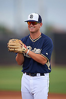 San Diego Padres Josh VanMeter (1) during practice before an instructional league game against the Milwaukee Brewers on October 6, 2015 at the Peoria Sports Complex in Peoria, Arizona.  (Mike Janes/Four Seam Images)