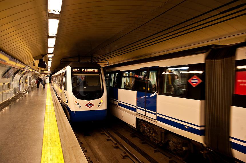 Metro train car, Madrid, Spain