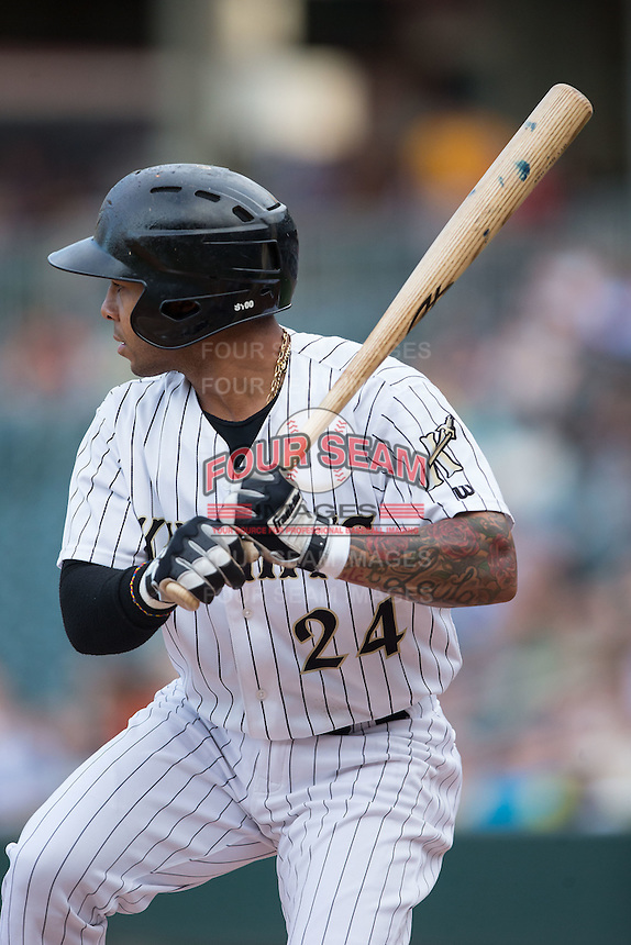 Leury Garcia (24) of the Charlotte Knights at bat against the Syracuse Chiefs at BB&T BallPark on June 1, 2016 in Charlotte, North Carolina.  The Knights defeated the Chiefs 5-3.  (Brian Westerholt/Four Seam Images)