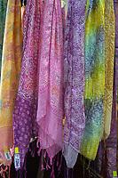 Yogyakarta, Java, Indonesia.  Batik Sales Room, Raradjonggrang Batik Factory.  Scarves for Sale.