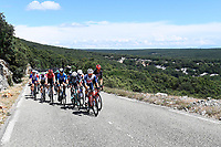 8th July 2021; Nimes, France; HENAO Sergio Luis (COL) of TEAM QHUBEKA NEXTHASH, ALAPHILIPPE Julian (FRA) of DECEUNINCK - QUICK - STEP , KUNG Stefan (SUI) of GROUPAMA - FDJ , POLITT Nils (GER) of BORA - HANSGROHE, ERVITI Imanol (ESP) of MOVISTAR TEAM, VAN MOER Brent (BEL) of LOTTO SOUDAL, SWIFT Connor (GBR) of TEAM ARKEA - SAMSIC, BOASSON HAGEN Edvald (NOR) of TOTAL ENERGIES , BISSEGGER Stefan (SUI) of EF EDUCATION - NIPPO, SWEENY Harrison (AUS) of LOTTO SOUDAL, MEZGEC Luka (SLO) of TEAM BIKEEXCHANGE, THEUNS Edward (BEL) of TREK - SEGAFREDO, GREIPEL AndrÈ (GER) of ISRAEL START-UP NATION of ISRAEL START-UP NATION  during stage 12 of the 108th edition of the 2021 Tour de France cycling race, a stage of 159,4 kms between Saint-Paul-Trois-Chateaux and Nimes.