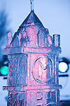 Ice sculpture of Main Hall in Missoula, Montana for the First Night celebration