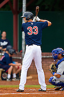 Rory Rhodes #33 of the Elizabethton Twins at bat against the Bluefield Blue Jays at Joe O'Brien Field on July 14, 2012 in Elizabethton, Tennessee.  The Twins defeated the Blue Jays 4-0.  (Brian Westerholt/Four Seam Images)